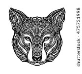 ethnic ornamented wolf head....   Shutterstock .eps vector #475721998