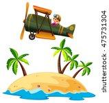 girl flying airplane over the... | Shutterstock .eps vector #475731304