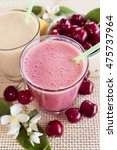 cherry and banana smoothie with ... | Shutterstock . vector #475737964