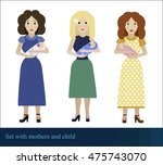 cute set with flat females and... | Shutterstock .eps vector #475743070