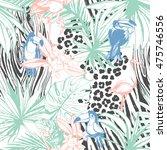 illustration tropical floral... | Shutterstock . vector #475746556