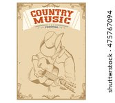 musician in cowboy hat playing... | Shutterstock .eps vector #475767094