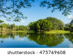 beautiful lake garden with... | Shutterstock . vector #475769608