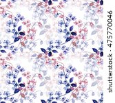 seamless watercolor flowers of ... | Shutterstock . vector #475770046