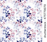 seamless watercolor flowers of ... | Shutterstock . vector #475770070