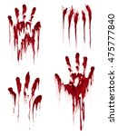Bloody Hand Print Isolated On...