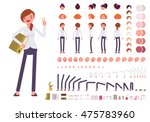 Female clerk character creation set. Build your own design. Cartoon vector flat-style infographic illustration | Shutterstock vector #475783960
