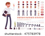 Male clerk character creation set. Build your own design. Cartoon vector flat-style infographic illustration | Shutterstock vector #475783978