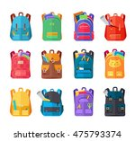 Colored school backpacks set. Backpacks with school supplies, notebooks, pencils, pens, rulers, scissors, paper. Education and study back to school, schoolbag luggage, rucksack vector illustration | Shutterstock vector #475793374