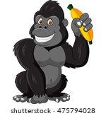 cartoon funny gorilla holding... | Shutterstock .eps vector #475794028