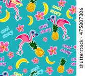 flamingo  pineapple ... | Shutterstock . vector #475807306