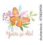 flower watercolor illustration. ...   Shutterstock . vector #475824934