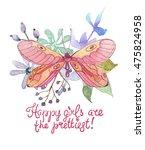 flower watercolor illustration. ...   Shutterstock . vector #475824958