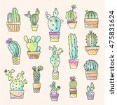 watercolor effect cactus set... | Shutterstock .eps vector #475831624