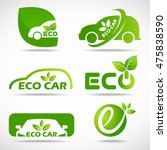 eco car logo   green leaf and... | Shutterstock .eps vector #475838590