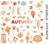 vector autumn doodles card.... | Shutterstock .eps vector #475839169