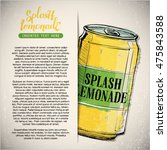 hand draw of splash lemonade.... | Shutterstock .eps vector #475843588