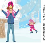 fun with dad in the snow   Shutterstock . vector #475879513