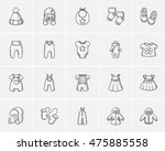 baby clothes sketch icon set... | Shutterstock .eps vector #475885558