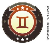 Gemini zodiac astrology  icon on round red and brown imperial vector button with star accents suitable for use on website, in print and promotional materials, and for advertising. - stock vector