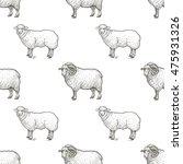 rams. seamless vector pattern... | Shutterstock .eps vector #475931326