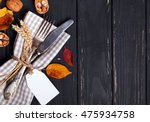 autumn table setting on black... | Shutterstock . vector #475934758