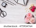 flowers  macarons  striped... | Shutterstock . vector #475934764