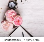 beautiful pink roses and clock... | Shutterstock . vector #475934788