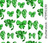 watercolor satin green bow...   Shutterstock . vector #475951150