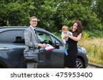young family makes car purchase.... | Shutterstock . vector #475953400