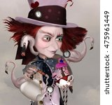 Stock photo wonderland series mad hatter with teapot cups and flamingos d and digital painted illustration 475961449