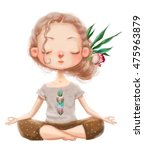 Cute Cartoon Girl In Yoga Lotu...