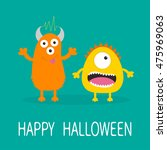 happy halloween greeting card.... | Shutterstock .eps vector #475969063