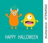 happy halloween greeting card.... | Shutterstock .eps vector #475969063