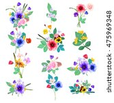 vector floral set. colorful... | Shutterstock .eps vector #475969348