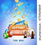 lottery jackpot with tickets ... | Shutterstock .eps vector #475969849