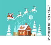 santa claus on sleigh and his... | Shutterstock .eps vector #475975174