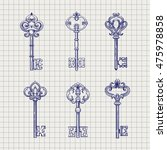 set of hand drawn ornamental... | Shutterstock .eps vector #475978858