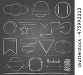 white hand drawn vector elements | Shutterstock .eps vector #475992313