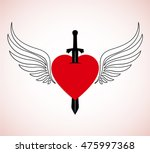 classic winged heart with sword ... | Shutterstock .eps vector #475997368
