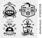 seafood menu monochrome emblems ... | Shutterstock .eps vector #476002108