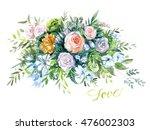 watercolor bouquet of tender... | Shutterstock . vector #476002303