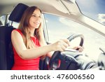young lady in red dress driving ... | Shutterstock . vector #476006560