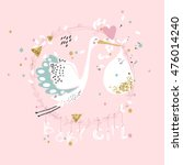 baby girl announcement card | Shutterstock .eps vector #476014240