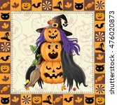 happy halloween frame with... | Shutterstock .eps vector #476020873