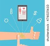 smart tattoo. hand as a... | Shutterstock .eps vector #476025610