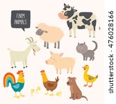 set of cute farm animals.... | Shutterstock .eps vector #476028166