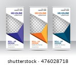 roll up banner stand template... | Shutterstock .eps vector #476028718