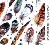 watercolor boho chic design... | Shutterstock . vector #476034934