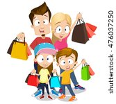 happy family with shopping bags ... | Shutterstock .eps vector #476037250